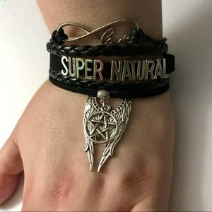 Jewelry - Love Supernatural Black Leather And Charm Bracelet